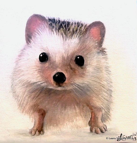 "Hedgehog #1: 6 x 6"" oil on stretched canvas"